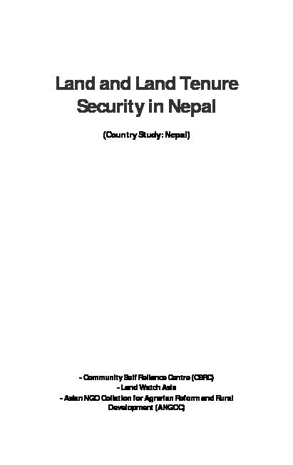 Land and Land Tenure Security in Nepal